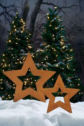 Tolle Gartendeko in Rostfinish für die Advents- und Weihnachtszeit. Maße: kleiner Stern ca. 40 cm Ø, großer Stern ca. 60 cm Ø, Gewicht: ca. 1,9 kg, Material: Metall.<br>