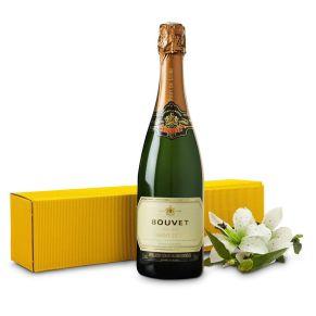 Dieser Crémant ist ein Cuvée aus Chenin Blanc und Chardonnay, hergestellt mit der Méthode traditionelle. Er hat ein fruchtiges Bouquet mit Noten von Honig. In gelbem Geschenkkarton. Maße: ca. L40 x B10 x H31 cm. Allergiehinweis: Enthält Sulfite<br>