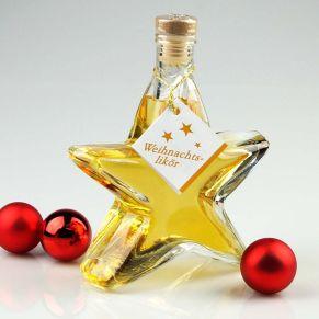 Sternflasche gefüllt mit 200 ml Weihnachtslikör 35 % vol.<br>
