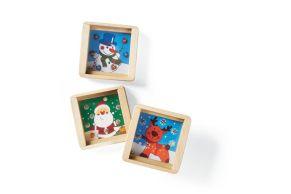 Tolle Geduldspiele aus Holz in den Motiven Schneemann, Elch und Weihnachtsmann. Fördert sowohl die Konzentration und die Geschicklichkeit. Nicht geeignet für Kinder unter 3 Jahren. Maße: ca. 5,3 x 5,3 x 1,4 cm, Material: Holz.<br>