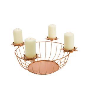 Moderner Kerzenkorb mit vier Kerzentellern in Sternform. Ideal für die Adventszeit, zum beliebigen Befüllen geeignet, Maße: ca. Ø 35 x H16 cm, Gewicht: ca. 0,7 kg, Material: Metall.<br>