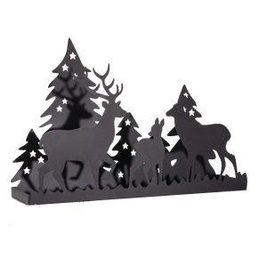 Kerzentablett mit dekorativer Silhouette einer Hirschfamilie im Wald. Maße: ca. B49 x T12,5 x H33 cm, Gewicht: ca. 0,9 kg, Material: Metall.<br>