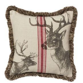 Kissenhülle mit einem prachtvollem Hirsch bedruckt. Reißverschluss, Maße: ca. 40 x 40 cm, Material: 100% Baumwolle.<br>