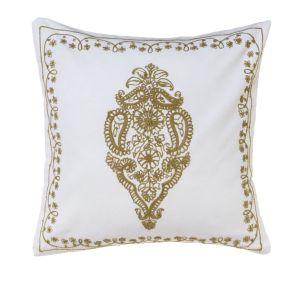Elegante Kissenhülle mit aufwändiger Stickerei auf der Vorderseite. Im orientalischen Stil, Waschempfehlung: 30 °C Maschinenwäsche, Verschlussart: Reißverschluss, Maße: ca. 40 x 40 cm, Material: 100% Baumwolle.<br>