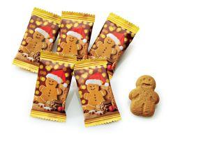 Aus knusprigen Mürbeteig mit gemahlenem Ingwer gefertigt. Einzeln verpackt in einem weihnachtlich designten Flowpack, Maße: ca. 80 x 40 mm, ca. 7g, Gewicht: ca. 1,1 kg. Zutaten: WEIZENMEHL (WEIZENMEHL, Calciumcarbonat, Eisen, Niacin, Thiamin), BUTTER, brauner Zucker, Invertzuckersirup, Zucker, Melasse-Sirup, gemahlener Ingwer, Salz, Backtriebmittel: Natriumhydrogencarbonat. Nährwertangaben: Energie 2046 kJ / 487 kcal; Fett 18,7g, davon gesättigte Fettsäuren 11,5g; Kohlenhydrate 72,2g, davon Zucker 26,7g; Eiweiß 6,4g; Protein 1,06g.<br>