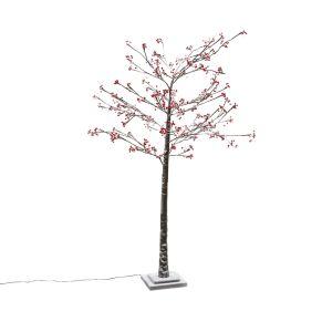 Dekorativ beleuchteter Baum mit roten Beeren. Nur für Indoor-Einsatz geeignet, Leuchtmittel: 128x LEDs, Farbtemperatur: Warmweiß, Kabellänge ca. 490 cm, Maße: Höhe ca. 180 cm, Ø ca. 80 cm, Standfuß ca. B 20 x T 20 x H 2 cm, Gewicht: ca. 2,5 kg, Material: Plastik, Metall.<br>