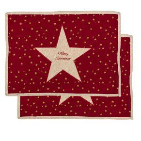 Weihnachtliche Platzmatten. Maße: ca. H35 x B48 cm, Material: 90% Baumwolle, 10% Leinen.<br>