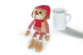 Fiete ist modisch in rot-weiß bestens für den Winter sowie für die Weihnachtszeit ausgerüstet. Maße: ca. 26 cm, Material: 100% Polyester.<br>