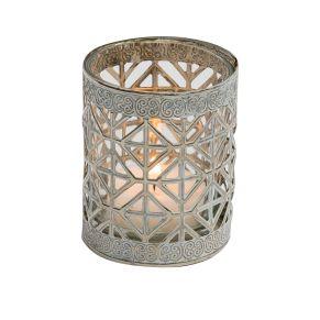 Dekorativer Teelichthalter im Orientstyle. Maße: ca. H7 x 6 cm Ø, Material: Metall, Glas.<br>