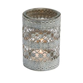 Dekorativer Teelichthalter im Orientstyle. Maße: ca. H12 x 8 cm Ø, Gewicht: ca. 0,4 kg, Material: Metall, Glas.<br>