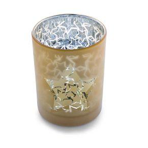 Moderner Teelichthalter, der durch seine besondere Beschichtung einen doppelten Motiv-Effekt erzeugt. Maße: ca. 12,5 cm hoch, 10 cm Ø, Gewicht: ca. 0,6 kg, Material: Glas.<br>