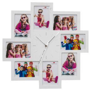 Die Wanduhr Frames ist ein echtes Highlight für jedes Zimmer. Die für eine Uhr ungewöhnlich eckige und asymetrische Form ist ein echter Hingucker. Durch die Option, seine eigenen Bilder in den Bilderrahmen zu platzieren, kann diese Uhr zu etwas ganz persönlichem gestaltet werden. Individuelle Gestaltung möglich, Bietet Platz für 8 Bilder, Batterien: 1 Mignonbatterie (exklusive), Gewicht: ca. 1 kg, Material: MDF.<br>