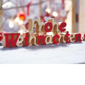 Hübscher Schriftzug in traditionellen, weihnachtlichen Farben. Maße: ca. B26 x H8 x T3 cm.