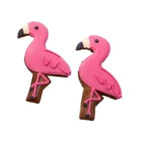 Lebkuchen in Form eines Flamingos mit Zuckerglasur verziert. Einzeln in Folie eingeschweißt, Maße: Ca. 11cm Hoch. Zutaten: WEIZENMEHL, Invertzuckersirup, Zucker, ROGGENMEHL, Feuchthaltemittel: Sorbitsirup, Trinkwasser, Gewürze, Karamelsirup, Backtrie