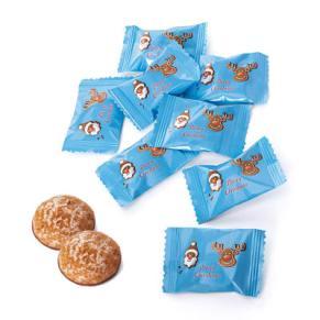 50 Mini-Lebkuchen mit Schokoladenboden. Jeweils einzeln verpackt in einer Tüte mit Weihnachtsmotiv, Gewicht je ca. 9g, Gewicht: ca. 0,6 kg. Zutaten: Zucker, gemahlene Aprikosenkerne, WEIZENMEHL, Glukose-Fruktose-Sirup, Kakaomasse, Stabilisator: Sorbi