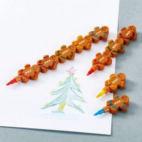 Wachsmalstifte zum Zusammenstecken mit 5 verschiedenen Farben wie blau, grün, gelb, rot, lila. Nicht geeignet für Kinder unter 3 Jahren. Einfach die Lebkuchmänner austauschen, um die Farbe zu wechseln, das Set beeinhaltet 30 Stifte mit jeweils 5 Lebk