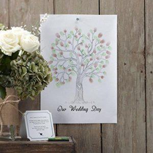 Geschenkidee Hochzeit Baum Fingerabdrücke einfach geschenke finden