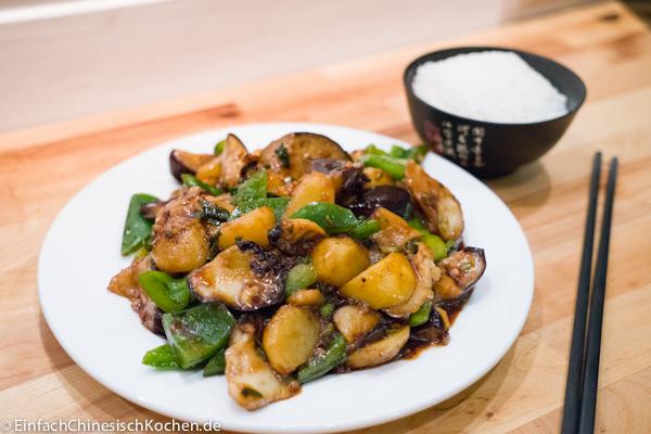 地三鲜(dì sān xiān) - Drei Köstlichkeiten in Nordost China: Kartoffeln, Aubergine und Paprika