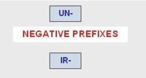 Prefijos Negativos: un- dis- in- im- il- ir-