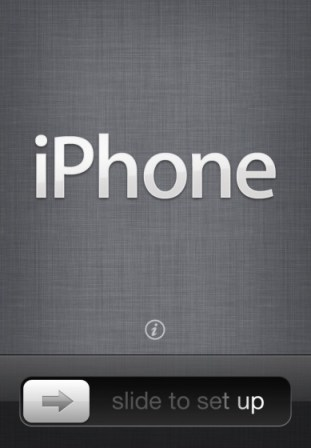iPhone slide to setup