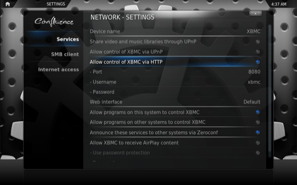 XBMC Allow Control via HTTP
