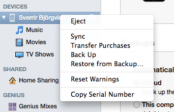 iTunes - Back Up