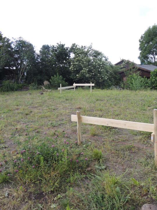 Ein fertiges Schnurgerüst steht in einem Garten