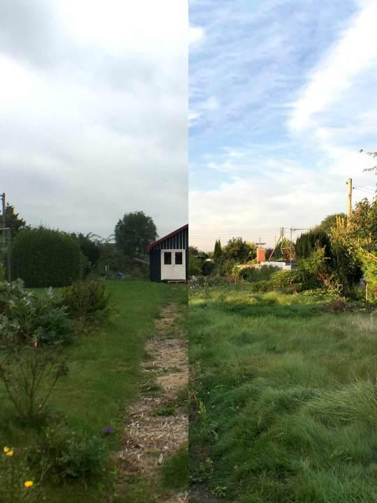 Halb-und-halb-Collage des Gartens, links mit Hütte, rechts noch ohne.