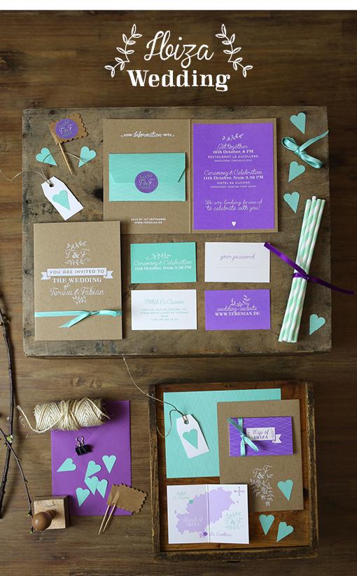 Vintage, Hochzeit, Wedding, Hochzeitseinladung, Ibiza, Siebdruck, Folienprägung, Mint, Lavendel, Packpapier
