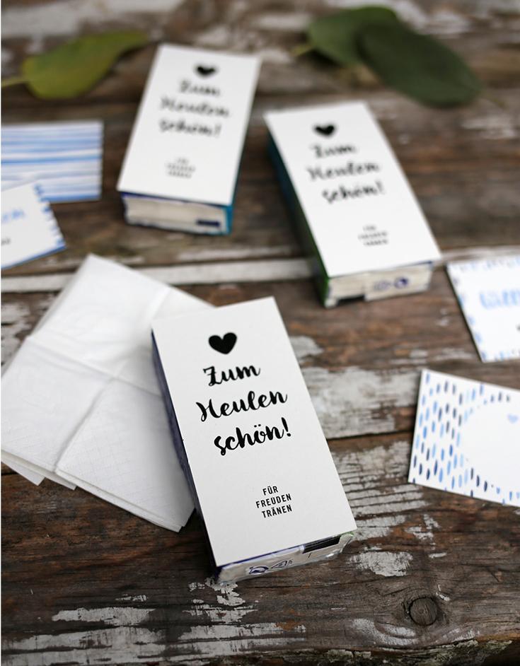 Hochzeitspapeterie, Herzlichst, Taschentücher, Batik