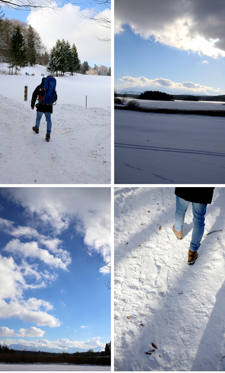 Winterwanderung, Kraxe, Baby, Osterseen
