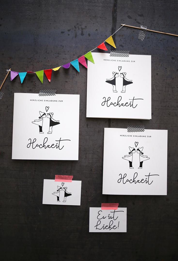 Hochzeitseinladung, Design Hochzeit, Wimpel, Ehe für alle, Kissing Dolls, Verpartnerung