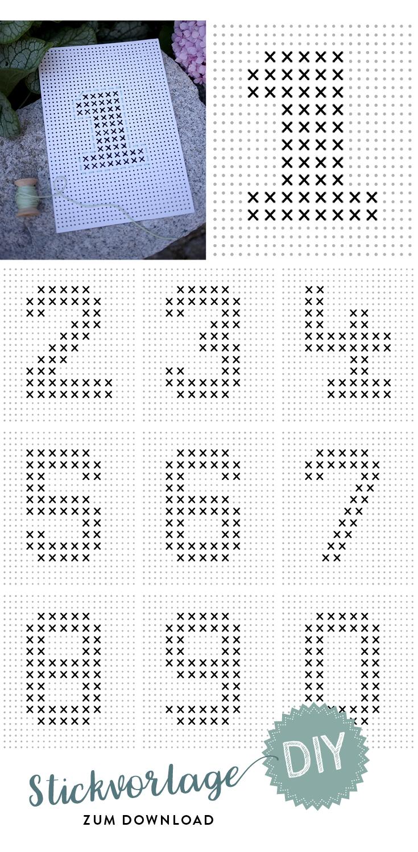 Stickvorlage, Lochpapier, Ziffern, Zahlen, Tischnummern zum Sticken, Hochzeit, Hochzeitspapeterie
