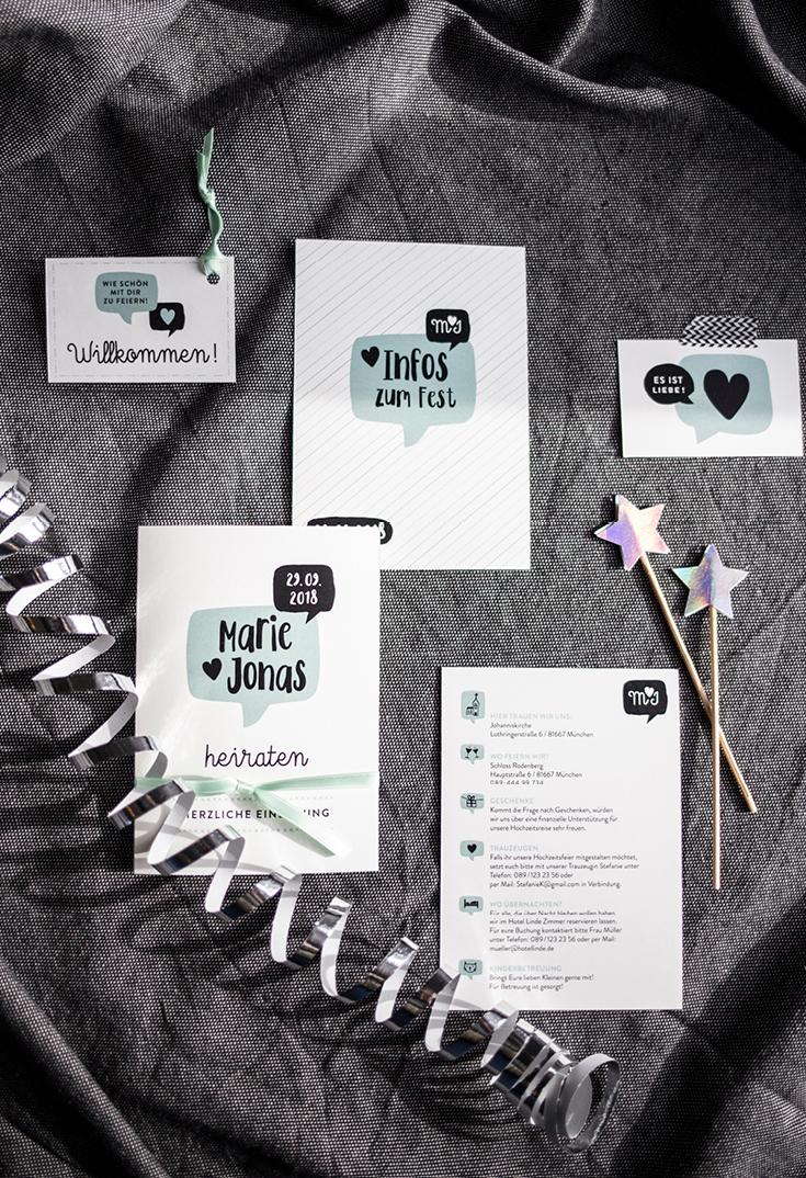 Hochzeitseinladung, Infokarte, Namenskärtchen, Serie Sprechblase, Hochzeitspapeterie, Herzlichst