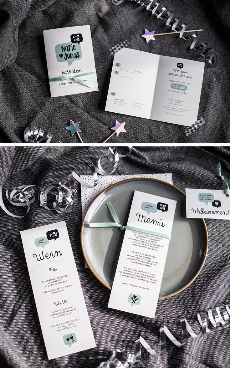 Hochzeitseinladung, Infokarte, Namenskärtchen, Serie Sprechblase, Hochzeitspapeterie, MenükarteHerzlichst