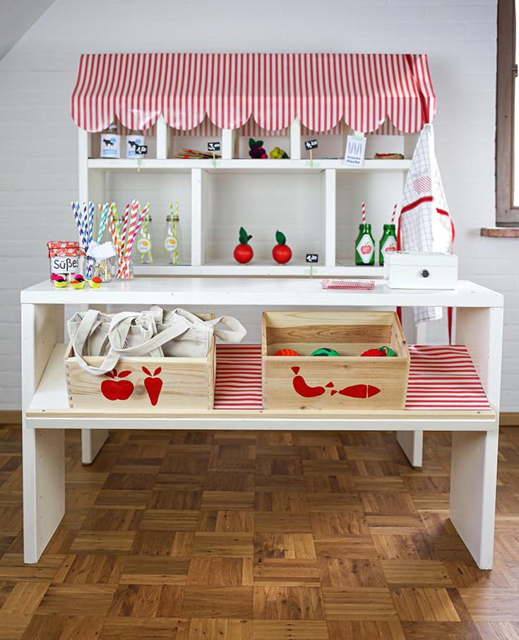 Kaufmannsladen DIY, Kaufladen Kinderzimmer, Kaufladen für Kinder selberbauen