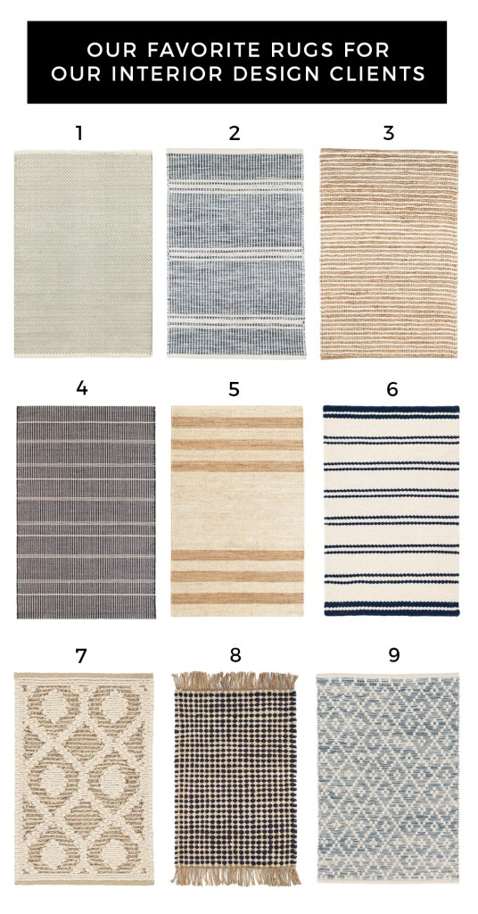 ANNIE SELKE RUGS by popular interior design blog, E. Interiors: image of various Annie Selke rugs.