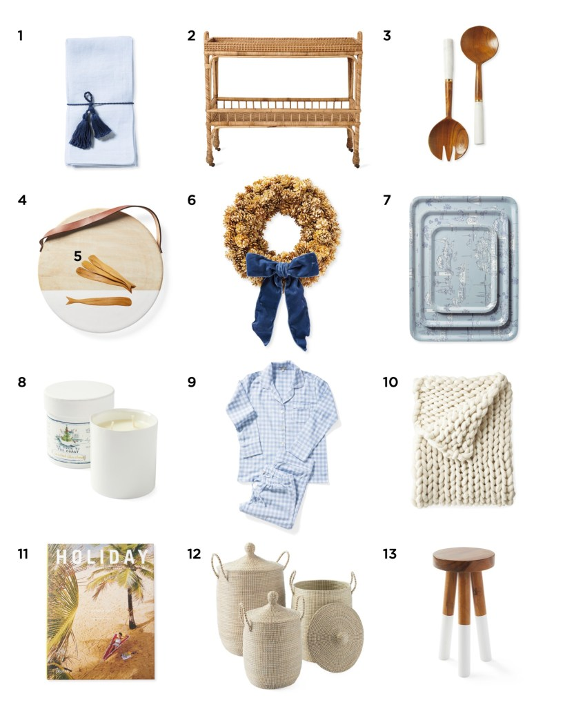BLACK FRIDAY SALES AND DEALS! by popular interior designers, E. Interior Design: collage image of a hand towel, bar cart, serving spoons, cutting board, wreath, serving trays, candle, flannel pajamas, knit blanket, magazine, woven baskets, and stool.