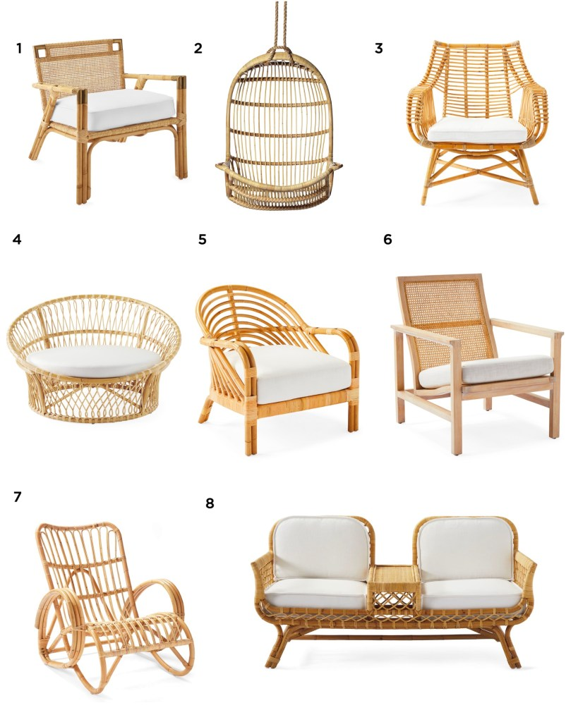 Serena and Lily Sale by popular US interior design blog, E. Interiors Design: image of various Serena and Lily rattan furniture.