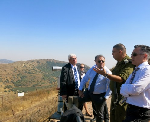 Briefing at Mount Bental over looking Syria by IDF Lt. Yitzak Malca
