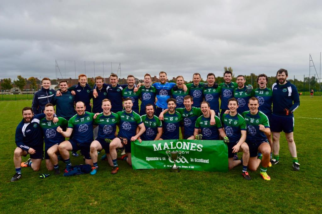 Dunedin Connollys celebrating their sixth Scotland GAA Men's Senior Football Championship title in a row in 2018