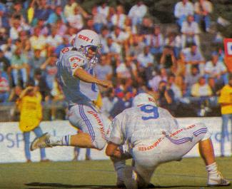 Munkka Colts Sakari Karstun kicks the only score of the match in a 3-0 win over Helsinki East City Giants in Maple Bowl X in 1989