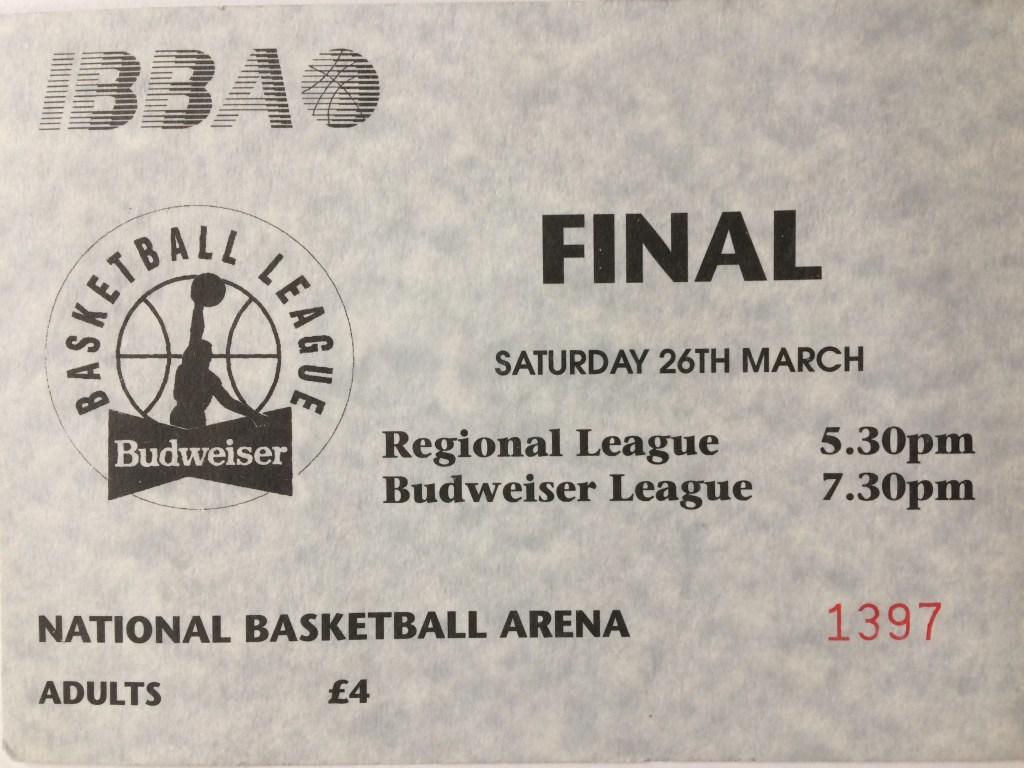 Irish Basketball Association Budweiser Basketball League Final Ticket - National Basketball Arena - 26th March 1994