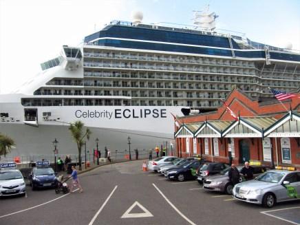 Cruise ship at dock alongside Cobh Heritage Museum