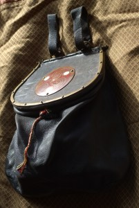 leather purse with metal frame