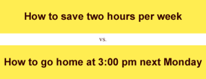 'How to save two hours per week' v. 'How to go home at 3:00pm next Mon'
