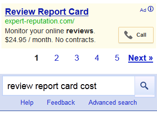 Review Report Card AdWords Ad