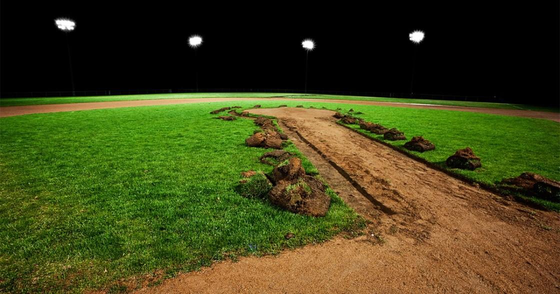 Baseball field at night being built