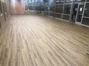 Commercial luxury vinyl tile flooring.