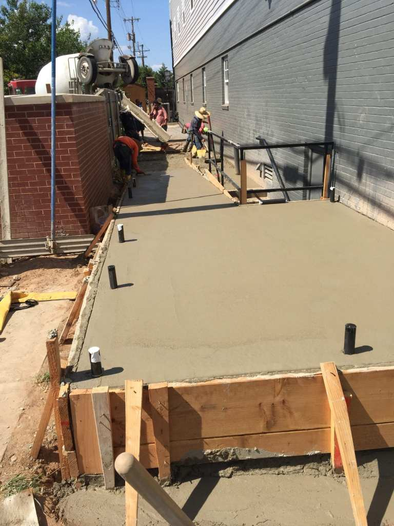 Concrete handicap ramp.